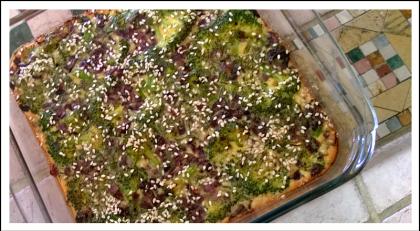 פשטידת ברוקולי ופטריות